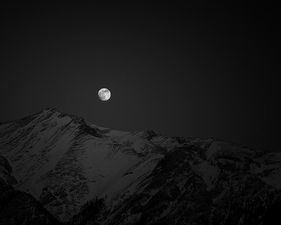 Moonrise over Mount Michener, Abraham Lake, Alberta