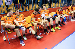 Team Netherlands look dejected after handball match between National teams of Slovenia and Netherlands in Qualifications of 2020 Men's EHF EURO, on April 14, 2019, in Arena Zlatorog, Celje, Slovenia. Photo by Vid Ponikvar / Sportida