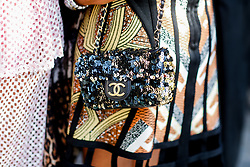 Street style, close up at Manish Arora spring summer 2019 ready-to-wear show, held at Pavillon Ledoyen, in Paris, France, on September 27th, 2018. Photo by Marie-Paola Bertrand-Hillion/ABACAPRESS.COM