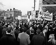 An anti-apartheid march by some 6,000 people took place to the rugby grounds at Lansdowne Road, Dublin to protest against the tour by the South African rugby team. Among the marchers are Dr Conor Cruise O'Brien, Bernadette Devlin, Donal Nevin and Dr Noel Browne.10/01/1970