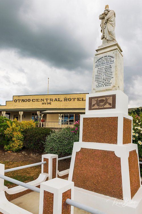 WWI memorial in Hyde on the Otago Central Rail Trail, Otago, South Island, New Zealand