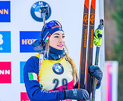 15.01.2020, Chiemgau Arena, Ruhpolding, GER, IBU Weltcup Biathlon, Sprint, Damen, Siegerehrung, im Bild Dorothea Wierer (ITA) // Dorothea Wierer of Italy during the winner ceremony for the women sprint competition of BMW IBU Biathlon World Cup at the Chiemgau Arena in Ruhpolding, Germany on 2020/01/15. EXPA Pictures © 2020, PhotoCredit: EXPA/ Stefan Adelsberger