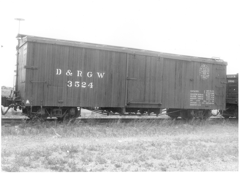 Side view of box car #3524 at Antonito.<br /> D&RGW  Antonito, CO  Taken by McCarter, M. D. - 7/4/1979<br /> Same image as RD054-035.