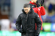 Bristol City Manager Lee Johnson makes his way to the dressing room after the final whistle. The Emirates FA cup 4th round match, Burnley v Bristol City at Turf Moor in Burnley, Lancs on Saturday 28th January 2017.<br /> pic by Chris Stading, Andrew Orchard Sports Photography.