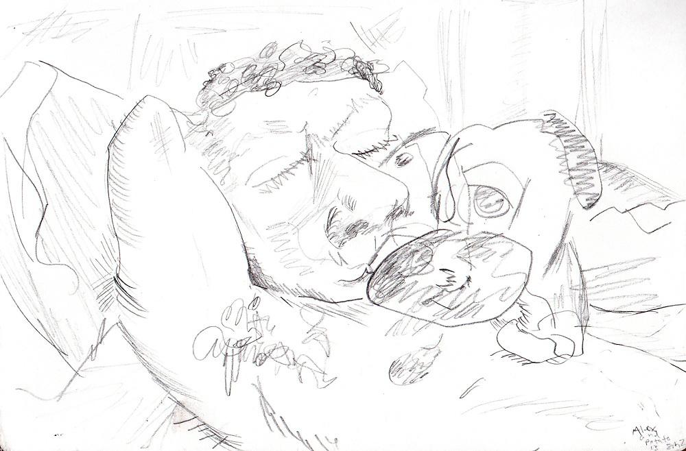 """Alex and Potato – 5.5""""x8.5"""", Graphite on paper, 2013"""