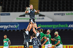 Alun Wyn Jones of Ospreys claims the lineout<br /> <br /> Photographer Craig Thomas/Replay Images<br /> <br /> Guinness PRO14 Round 4 - Ospreys v Benetton Treviso - Saturday 22nd September 2018 - Liberty Stadium - Swansea<br /> <br /> World Copyright © Replay Images . All rights reserved. info@replayimages.co.uk - http://replayimages.co.uk