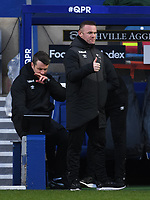 Football - 2020 / 20-21 Sky Bet Championship - Queens Park Rangers vs Derby County - Kiyan Prince Foundation Stadium<br /> <br /> Derby County Manager Wayne Rooney encourages his team as Colin Kazim-Richards scores the opening goal.<br /> <br /> COLORSPORT