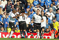 Photograph: Scott Heavey.<br />Birmingham City v Fulham from St.Andrews. 14/09/2003.<br />Louis Saha celebrates opening the scoring for Fulham.