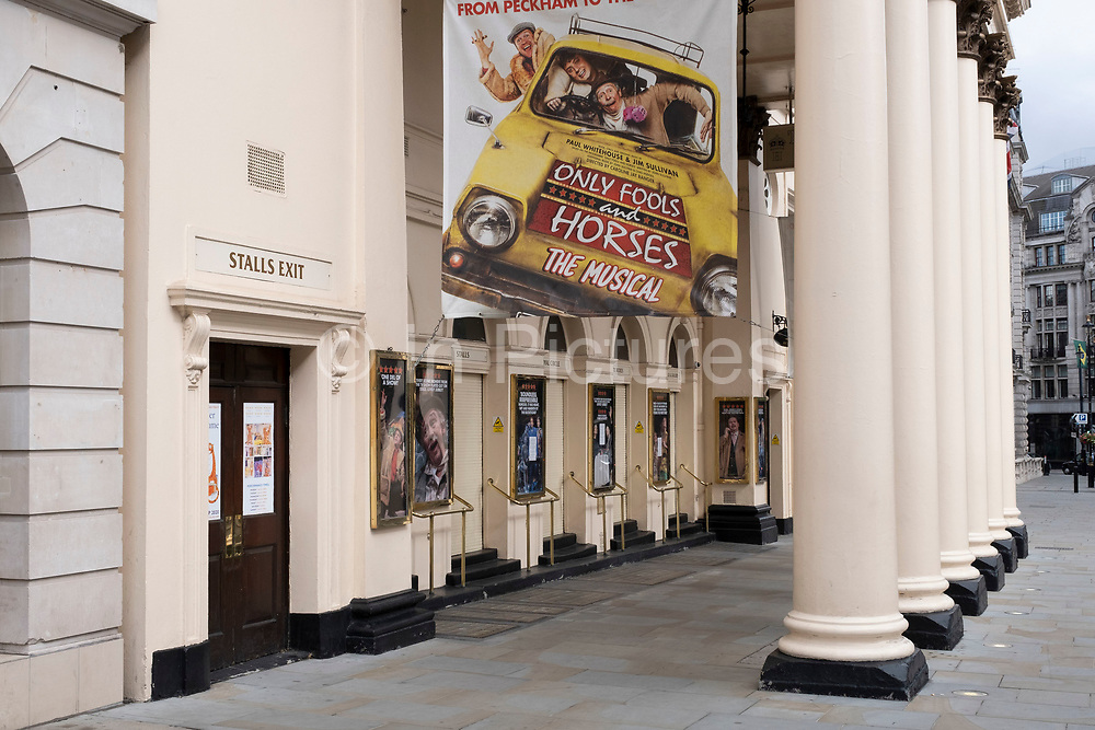 West End theatres ramain closed, with musicals and other theatre shows on hold under coronavirus lockdown on 1st July 2020 in London, England, United Kingdom. Theatreland has taken a big hit as social distancing has not allowed audiences to return and so doors and box offices are shut. As the July deadline approaces and government will relax its lockdown rules further, the West End remains quiet, while some non-essential shops are allowed to open with individual shops setting up social distancing systems.