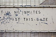 A 'No inmates past this line' sign HMP/YOI Portland, a resettlement prison with a capacity for 530 prisoners. Dorset, United Kingdom.