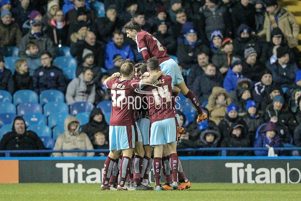Burnley celebrate the opening goal during the Sky Bet Championship match between Sheffield Wednesday and Burnley at Hillsborough, Sheffield, England on 2 February 2016. Photo by Mark Doherty.