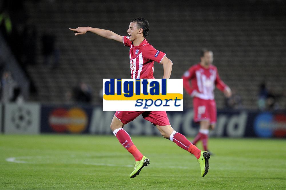 FOOTBALL - UEFA CHAMPIONS LEAGUE 2009/2010 - 1/4 FINAL - 2ND LEG - GIRONDINS DE BORDEAUX v OLYMPIQUE LYONNAIS - 7/04/2010 - PHOTO JEAN MARIE HERVIO / DPPI - JOY MAROUANE CHAMAKH (BDX) AFTER HIS GOAL