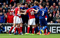 A scuffle breaks out amongst the Middlesbrough and Manchester United players - Mandatory by-line: Robbie Stephenson/JMP - 19/03/2017 - FOOTBALL - Riverside Stadium - Middlesbrough, England - Middlesbrough v Manchester United - Premier League