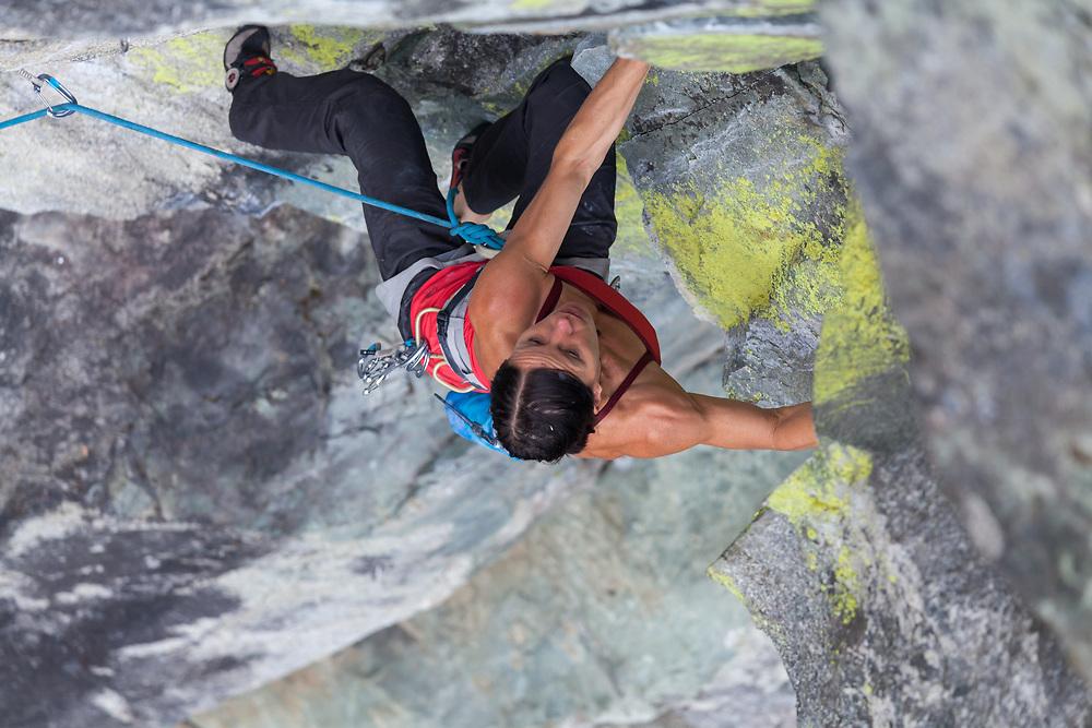Ines Papert sport climbing Fish Ladder, 5.11b, Paradise Valley, Squamish, BC