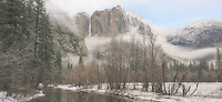 Misty Winter Morning Yosemite Falls Panorama. Composite of 3 images taken with a Nikon D3x and 45 mm f/2.8 PC-E lens (ISO 100, 45 mm, f/11, 1/60 sec) combined using Adobe Photoshop CS4.