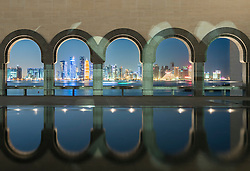 Night view of Museum of Islamic Art in Doha Qatar