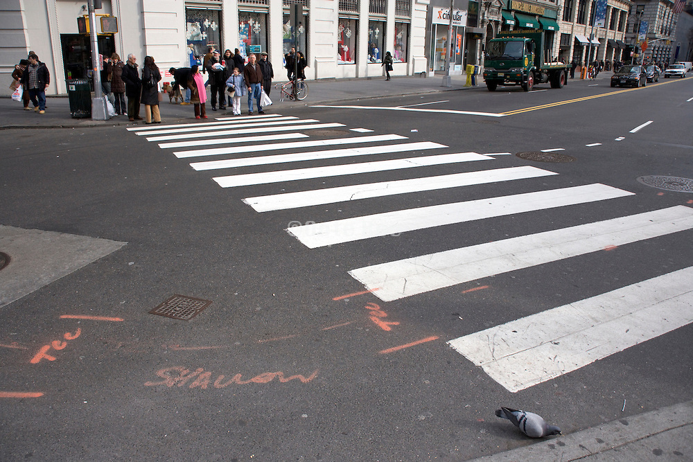 people waiting for green to cross at a zebra crossing