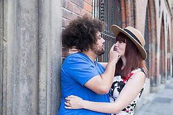 Loving young couple outdoors in city