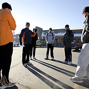BISHOP, CA, January 19, 2008: Run Mammoth coachTerrence Mahon, second from left, informs the team about the daily run outside Mammoth Lakes, CA. The high altitude and clean air provide a picturesque and challenging training ground for the Olympic hopeful.