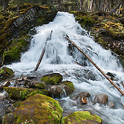 Sarrail Creek waterfall on the Rawson Lake Trail. Peter Lougheed Provincial Park. Kananaskis Country is an improvement district (a type of rural municipal administrative unit) west of Calgary, Alberta, Canada in the foothills and front ranges of the Canadian Rockies. Stitched from 4 images.