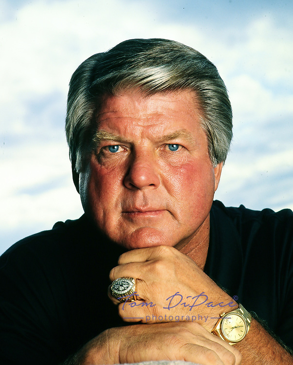 Miami Dolphin head coach Jimmy Johnson poses for a portrait on his boat. Circa 1997-99<br /> <br /> (Tom DiPace )