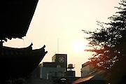 NARA, JAPAN, Sunset from the Kofuku-ji bouddhist temple., JULY 2005.