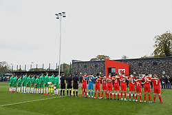 WREXHAM, WALES - Wednesday, October 30, 2019: Wales and Northern Ireland players before the 2019 Victory Shield match between Wales and Republic of Ireland at Colliers Park. (Pic by David Rawcliffe/Propaganda)