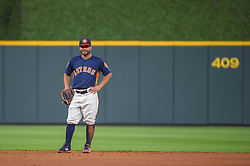 March 26, 2018 - Houston, TX, U.S. - HOUSTON, TX - MARCH 26: Houston Astros infielder Jose Altuve (27) stands ready at second base during the game between the Milwaukee Brewers and Houston Astros at Minute Maid Park on March 26, 2018 in Houston, Texas. (Photo by Ken Murray/Icon Sportswire) (Credit Image: © Ken Murray/Icon SMI via ZUMA Press)