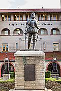 Statue to Don Pedro Menendez de Aviles at the Lightner Museum in St. Augustine, Florida. Don Pedro Menendez de Aviles is the founder of the city.