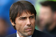 Chelsea Manager Antonio Conte looks on from the dugout. Premier league match, Everton v Chelsea at Goodison Park in Liverpool, Merseyside on Sunday 30th April 2017.<br /> pic by Chris Stading, Andrew Orchard sports photography.