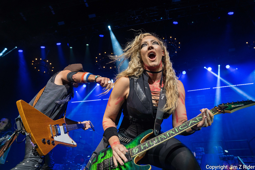 NITA STRAUSS, vocals, lead and rhythm guitar, amps up the energy as she performs with Alice Cooper.  After nearly 19 months off stage, Rock and Roll legend Alice Cooper, 73, launched his fall 2021 tour at Ocean Casino Resort in Atlantic City, New Jersey.