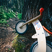 Heather Goodrich rides singletrack near Hope Alaska where hikers parked a kid's skuut push bike.