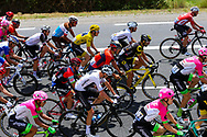 The peloton rides underneath the Millau bridge on their way to Carcassonne with the yellow jersey of Geraint Thomas in the centre of the pack during the 105th Tour de France 2018, Stage 15, Millau - Carcassonne (181,5 km) on July 22th, 2018 - Photo George Deswijzen / Pro Shots / ProSportsImages / DPPI