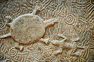 Stone relief sculptured panel of a terrapin. From the northern courtyard,  Inv AO 19890 from Dur Sharrukin the palace of Assyrian king Sargon II at Khorsabad, 713-706 BC.  Louvre Museum Room 4 , Paris .<br /> <br /> If you prefer to buy from our ALAMY PHOTO LIBRARY  Collection visit : https://www.alamy.com/portfolio/paul-williams-funkystock/ancient-assyria-antiquities.html  Refine search by adding background colour, place, subject, museum etc into the LOWER SEARCH WITHIN GALLERY box to <br /> <br /> Visit our ANCIENT WORLD PHOTO COLLECTIONS for more photos to download or buy as wall art prints https://funkystock.photoshelter.com/gallery-collection/Ancient-World-Art-Antiquities-Historic-Sites-Pictures-Images-of/C00006u26yqSkDOM