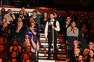 Judd Trump of England is announced to the crowd for the start of the match.  Coral Welsh Open Snooker 2017, final match, Judd Trump of England v Stuart Bingham of England at the Motorpoint Arena in Cardiff, South Wales on Sunday 19th February 2017.<br /> pic by Andrew Orchard, Andrew Orchard sports photography.