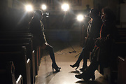 """BRONX, NEW YORK, JANUARY 2, 2018 The transgender cast members of the film """"Saturday Church"""",  actors Indya Moore, with curly hair, Alexia Garcia, with long hair, and Mj Rodriguez, wearing head scarf, are seen at St. Peter's Episcopal Church in the Bronx, NY. 1/2/2018"""