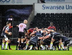 Shaun Venter of Ospreys waits to put in to the scrum<br /> <br /> Photographer Simon King/Replay Images<br /> <br /> Guinness PRO14 Round 6 - Ospreys v Southern Kings - Saturday 9th November 2019 - Liberty Stadium - Swansea<br /> <br /> World Copyright © Replay Images . All rights reserved. info@replayimages.co.uk - http://replayimages.co.uk