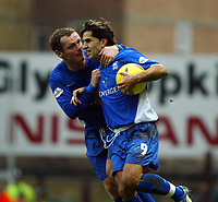 Photo. Chris Ratcliffe<br /> West Ham United v Ipswich Town. Nationwide 1st Division 26/12/2003<br /> Jim Magilton celebrates with scorer of penalty Pablo Counago