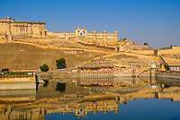JAIPUR, INDIA - CIRCA NOVEMBER 2016: View of the Amer Fort, also know as the Amber Fort  and  Maotha Lake in Jaipur
