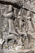 Depictions of gods on the end relief panel of the 13th century BC Hittite religious rock carvings of Yazılıkaya Hittite rock sanctuary, chamber A, Hattusa, Bogazale, Turkey. .<br /> <br /> If you prefer to buy from our ALAMY PHOTO LIBRARY  Collection visit : https://www.alamy.com/portfolio/paul-williams-funkystock/yazilikaya-hittite-sanctuary-hattusa.html<br /> <br /> Visit our ANCIENT WORLD PHOTO COLLECTIONS for more photos to download or buy as wall art prints https://funkystock.photoshelter.com/gallery-collection/Ancient-World-Art-Antiquities-Historic-Sites-Pictures-Images-of/C00006u26yqSkDOM