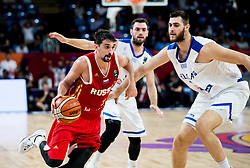 Aleksei Shved of Russia vs Georgios Papagiannis of Greece during basketball match between National Teams of Greece and Russia at Day 14 in Round of 16 of the FIBA EuroBasket 2017 at Sinan Erdem Dome in Istanbul, Turkey on September 13, 2017. Photo by Vid Ponikvar / Sportida