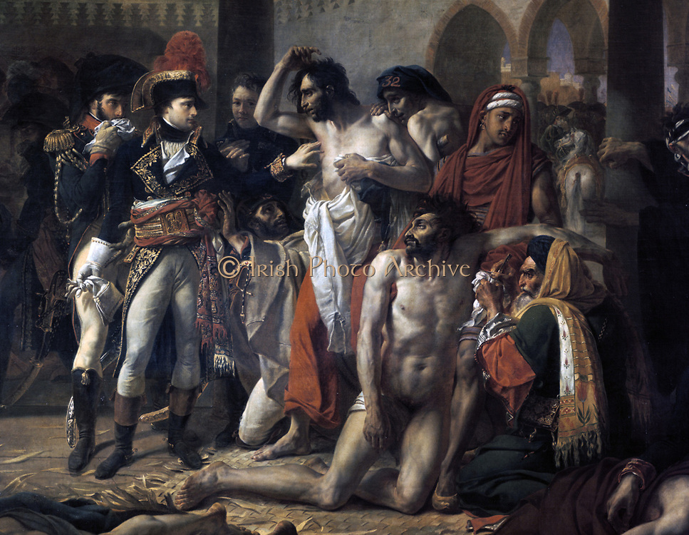 Napoleon in the Pesthouse of Jaffa' (detail) 1804.   Antoine-Jean Gros (1771-1835) French Neoclassical painter.  Oil on canvas.   Propaganda picture showing Napoleon I touching plague victims in Jaffa, putting him on the same plane as annointed kings who could effect miraculous cures through  divine intervention, 11 March 1799.