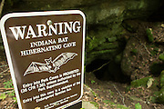 Warning sign prohibiting entry into the hibernaculum of endangered Indiana bats. Mammoth Cave Natinal Park, Kentucky. © Michael Durham.