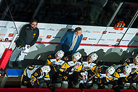 REGINA, SK - MAY 25: Hamilton Bulldogs Athletic Therapist JP Laciak stands on the bench against the Regina Pats at the Brandt Centre on May 25, 2018 in Regina, Canada. (Photo by Marissa Baecker/CHL Images)