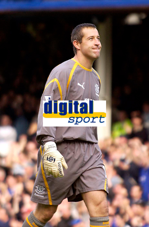 Photo. Jed Wee.<br /> Everton v Leeds United, FA Barclaycard Premiership, Goodison Park, Liverpool. 28/09/2003.<br /> Everton's former Leeds goalkeeper Nigel Martyn seems to be thinking he made the right decision in leaving, as Everton score again against his former team.
