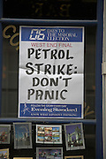 Evening Standard newspaper poster, Petrol Strike Don't Panic, London England, April 2008.