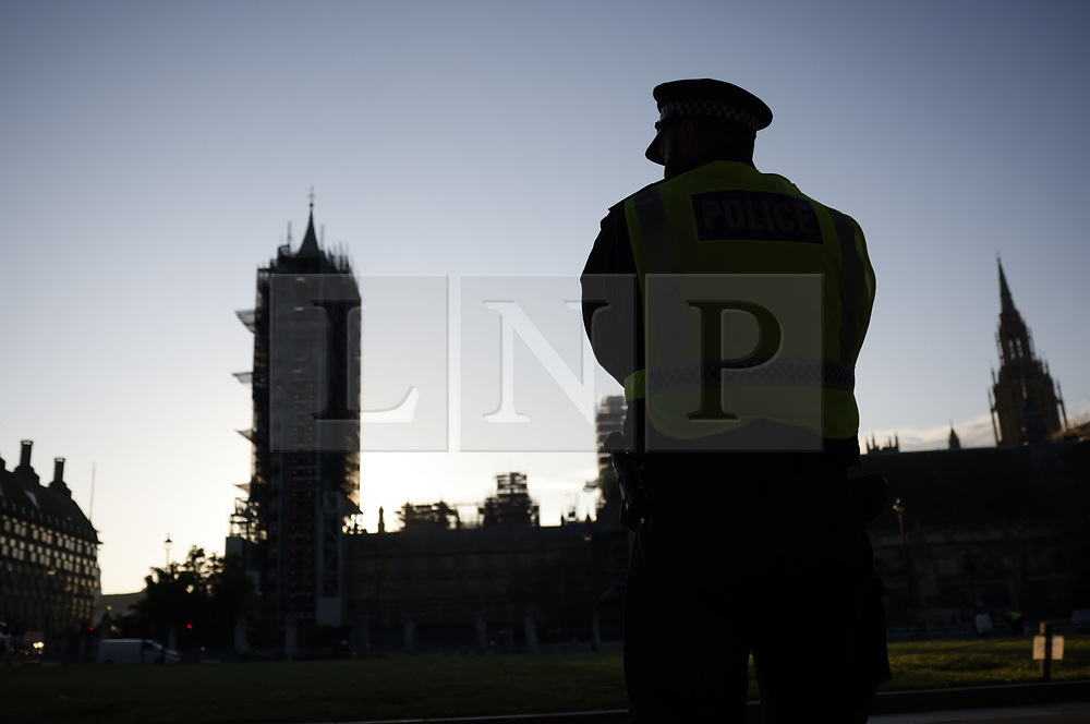 © Licensed to London News Pictures. 01/09/2020. London, UK. Police are already on duty in Westminster ahead of the Extinction Rebellion (XR) environmental campaign group's planed blockade of Parliament. XR plan to peacefully disrupt the UK Parliament with actions planned over two weeks, until MP's back the Climate and Ecological Emergency Bill and prepare for crisis with a National Citizens' Assembly. Photo credit: Peter Macdiarmid/LNP