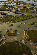 Aerial view of the islands created by tidal flow in the marsh in Charleston, SC