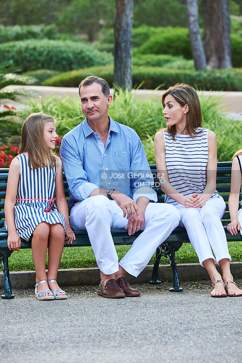 Princess Sofia, King Felipe VI of Spain, Queen Letizia of Spain pose for the photographers at the Marivent Palace on August 4, 2016 in Palma de Mallorca, Spain.