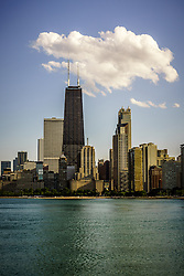 Picture of Chicago Near North Side and Chicago skyline with the Hancock building.  The Near North Side in Chicago is a wealthy community North of the Chicago River.